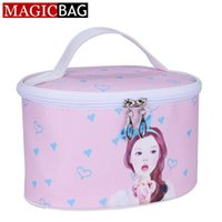 beauty hand painted - MAGICBAG Female Dot Hand Painted Portable Travel Toiletry Beauty Cosmetic Bags Makeup Case Organizer Zipper Clutch Storage Bag