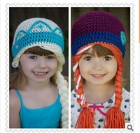 Wholesale crochet frozen hats kids girls baby handmade hat crochet knitting ELSA ANNA cap frozen winter hat in girls beanie hand knitted hat I001