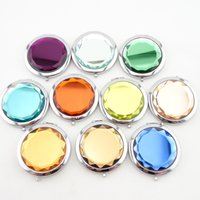 Wholesale 200pcs Mixed Colors Cosmetic Pocket Compact Stainless Makeup Mirrors Travel Must Nice Bag Fashion Cute DHL Free Logo Print