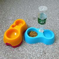 Wholesale New Pet Cat Dog Water Drinker Dispenser Food Stand Deluxe Feeder Dish Bowl Bottle Feeding