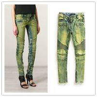 animal print fleece material - 2015 BALMAIN Womens Ribbed Zip Moto Skinny Denim Jeans Brand New Sz