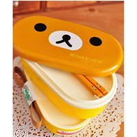 Wholesale 10pcs Brown Microwave Rilakkuma Bento Multilayer Children Lunch Box Seaweed lunch box HOT TY1063