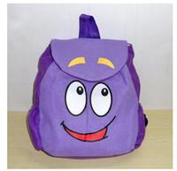 bags dora - Dora the Explorer Backpack inch Mr Face Plush Backpack Shool Bag Purple Toddler Size New Retail