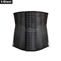 Wholesale I Glam Men s Top Seller Underbust Waist Trainer Cincher Latex Rubber Strap Corsets Body Shaper Body Slimming Black CO