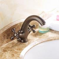 Bronze antique brass bathroom faucet - dual handles single hole brass material luxury bathroom faucet european antique lavatory faucets antique faucet art basin taps