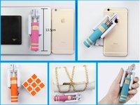 Wholesale Smallest Super Mini monopod Wired Selfie Sticks Portable Extendable Handheld Self portrait Cable stick for iphone