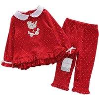 baby clothes teddy bear - baby girls clothes Sets Children suits T Shirt pants red Christmas teddy bear