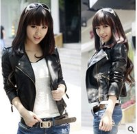 women black short leather jacket - 2016 New Short PU Leather Jacket Women Black PU Plus Size Coat Fashion Coat z2