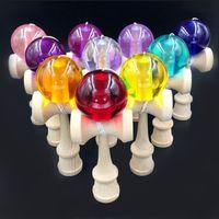 Wholesale Hot Selling Crystal Kendama Bilboquet Japanese Traditional Real Beech Wood Game Toy Ball Skills Ball Crack Jade Sword Ball CM