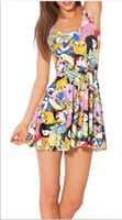 Wholesale Fashion colors elegant patchwork color Milk Adventure Time Skater Dress for Women Fashion Women s Black Milk Girl Dress