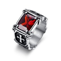 al por mayor anillo de la piedra preciosa cruz-Mens Diamante de piedras preciosas de diamante de la Cruz Anillos de color rojo Negro piedras preciosas de titanio de acero inoxidable de acero Anillos