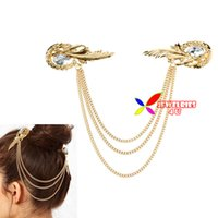fashion jewelry dropship - New arrival piece fashion golden alloy tassel stone hair chains Hairpins for womens clip jewelry dropship