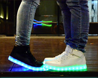 big dance shoes - PrettyBaby LED Light Up Shoes For Adults High Top Big Size Unisex dance shoes USB Charging Lights Shoes Black White in stock