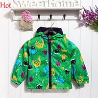 Wholesale Children Boys Fleece Thicken Coat Jacket Carton Dinosaur Animal Print Hooded Raincoat Long Sleeve Fashion Outerwear Green Clothing SV020139
