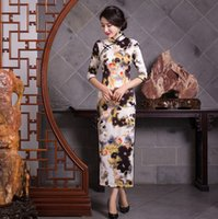 Wholesale Chinese traditional dress Vintage qipao Long Chinese Dress Floral Painted Cheong sam Faux Silk Cheongsam Dress
