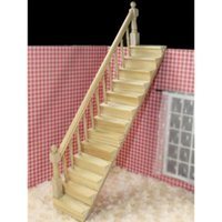 Wholesale FS Hot Dolls House Wooden Staircase Left Handrail Pre Assembled order lt no track