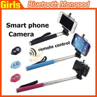 self - Extendable Handheld Self portrait Monopod selfie stick Photo Bluetooth Shutter Camera Remote Control monpod shutter clip Pls choose option
