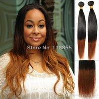 La armadura brasileña barata del pelo recto de la naturaleza empaqueta la trama marrón 4pcs / lot 12-28 del pelo humano de Ombre del tono el envío libre 3,4,5pcs / lot