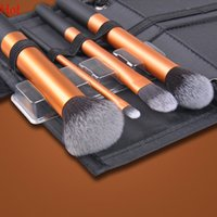 aluminum makeup brush set case - Top Luxurious Professional Brushes New Black Golden Eyeshadow Makeup Brush Aluminum Cosmetic Foundation Brushes With Case Hot SV006751