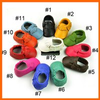 leather soles for shoes - NEW Colorful genuine leather baby moccasins booites shoes soft sole fringe moccs prewalker shoes moccasin for infants toddlers