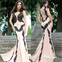 Wholesale 2014 Fashion Design Mermaid Evening Dress Champagne and Black High Neck Floor Length Hollow Back Lace Applique Prom Dress EM03828