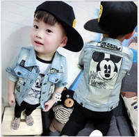 Wholesale Mickey Mouse Denim Jacket Coat New Hot Sale Baby Boys Cartoon Mickey Cowboy Jackets Outwear Children Clothing Kids Coats Boy Outwear