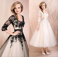 Wholesale Vintage New Cheap Sheer Lace Wedding Dresses Ivory Black Long Sleeve Lace Up Tea Length Applique Scoop Bridal Gowns