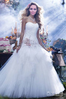 angelina jolie wedding - Fairy Angelina Jolie Vintage Wedding Dresses Sweetheart Pleated Ruched Tulle Handmade Flowers Puffy Berta Bridal Dress Gowns