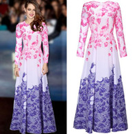Wholesale New long sleeve runway maxi dresses Hot Women s Long Sleeve Sweet Floral Printed Celebrity Party Ball Gown Long Dress plus size S XXL