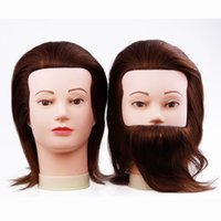 beard wig - Male Mannequin Heads With Hair Man Gent Training Head Cosmetology Styling Practice Head With Beard Cheap Manikin Doll Head With Human Hair