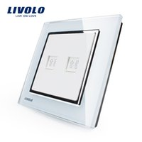Wholesale Livolo Luxury white crystal glass panel VL W292T TEL gang Telephone Socket days lead time