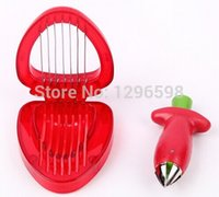 Wholesale d7789 Fruit Vegetable Tools set plastic novelty household kitchen knife tools strawberry hullers Cutter Slicer