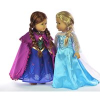 Wholesale Frozen Elas and Anna Sparkle Princess Dress Doll Clothes For quot American Girl Handmade