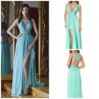 backless girdle - 2016 Sexy Modest Mint Green Long Girls Pary Gowns Deep V Neck Girdling Sleeveless Floor Lenth Chiffon Draped Blue Evening Prom Dresses
