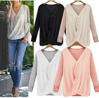 Cheap 2015 New Fashion Women Blouses Casual Patchwork Knitted Chiffon Blusas Women Long Sleeve Shirts Plue Size M L XL XXL 4 Color