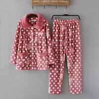 Wholesale European and American original single autumn and winter women s loose big yards thick flannel pajamas home service package printing