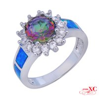 Cheap Sale Finger Wedding Rings Fine Jewelry Lady's Fashion Blue Sapphire AAA Zircon opal anel 18KT White Gold Filled Ring F3343-R6