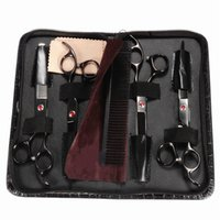 Wholesale Hot Sale Good Quality One Set Black Steel Professional Pet Scissors Kit Sharp Edge Dog Cat Grooming With Storage Bag