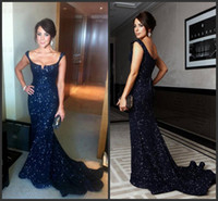 Cheap Arabic Navy Blue Mermaid Prom Dresses 2016 Sexy Spaghetti Backless Sequins elie saab Formal Party Celebrity Evening Gowns