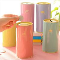 Wholesale 2016 cartoon animal piggy banks Fresh styles children candy color metal saving box styles for choose gift cm
