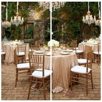beige linen tablecloth - 2015 Hot Sale Customized inches Round Table Cloths Rose Gold Sparkly Tablecloth Champagne Beautiful Wedding Table Linens Sequined Cloth