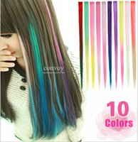 Wholesale 50pcs Womens Gradient Bright Colorful Synthetic Hair Extension Ladies Party Clip in Clip on Cosplay Hair Extensions ombre hairpiece FP09