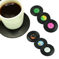 vinyl record - 6 set New Arrival Home Table Cup Mat Creative Decor Coffee Drink Placemat Spinning Retro Vinyl CD Record Drinks Coasters FG08169