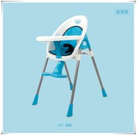 plastic tables and chairs - Grade Quality Yellow Red Blue Children Chair Feeding Desk Table Dinner Highchair CM High Quality Plastic and Steel Pipe
