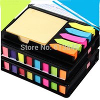 memo pad - NEW Fashion Leather Box Memo Pad DIY Cute Kawaii Colored Paper Sticky Note Sticker Creative Gift Novelty Items
