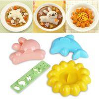 Wholesale 4pcs set Cartoon Rabbit Dolphin Rice Mould Sushi Kitchen Tool DIY Mold Set ZH265