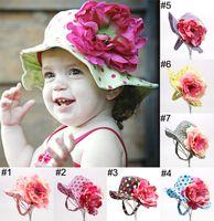 flower bucket hats - 2015 New Fashion Children Caps Kids Girls Bucket Hats Big Flowers Pretty Polka Dots Kids Beach Sun Hats Children Accessories M710