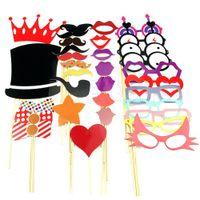 Gratis 33pcs envío Favor Máscaras del partido de bricolaje Photo Booth Atrezzo bigote en una fiesta de bodas del palillo pedir $ 18Nadie pista