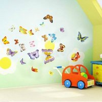 Wholesale 50pcs set butterfly third generations sticker removable bedroom living room TV backdrop wall stickers