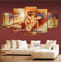 art texture - Nude Girl and Boy Thick Texture Handmade Modern Abstract Oil Painting On Canvas Wall Art Wedding Bedroom Decoration JYJHS006